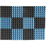 """Foamily 2 Pack - Ice Blue/Charcoal Acoustic Foam Sound Absorption Pyramid Studio Treatment Wall Panels, 2"""" X 12"""" X 12"""""""