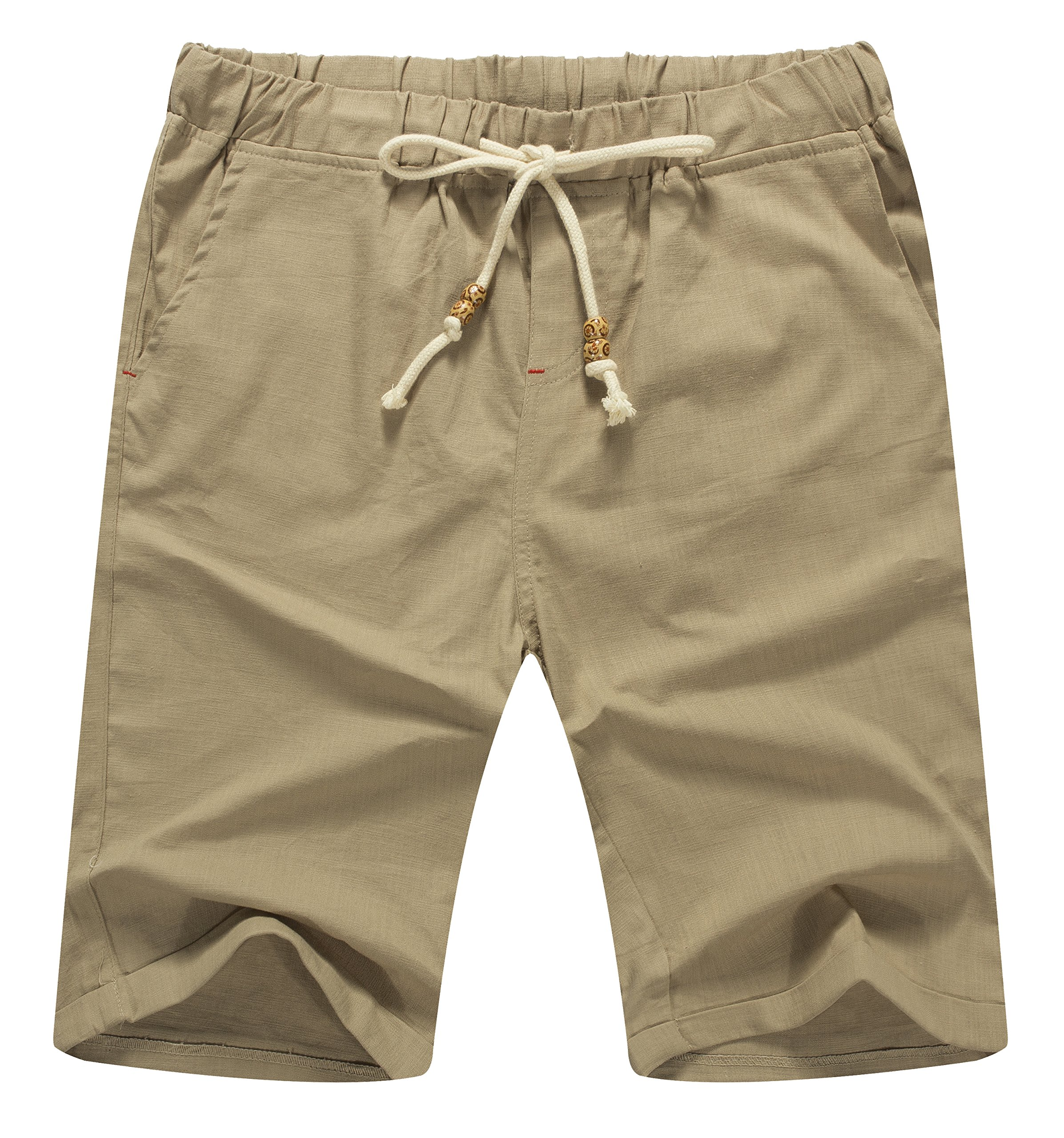 Mr.Zhang Men's Linen Casual Classic Fit Short Summer Beach Shorts Khaki-US M