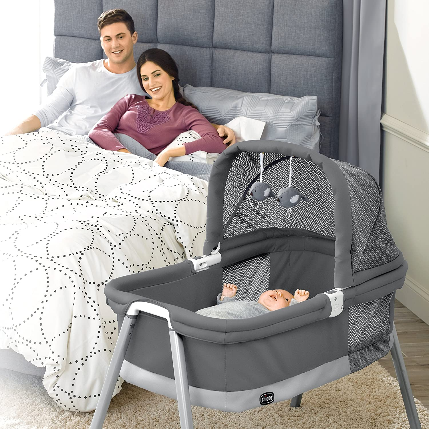 Bassinets & Cradles Chicco Lullago Deluxe Portable Bassinet Padded Mattress Snap-on Legs Charcoal