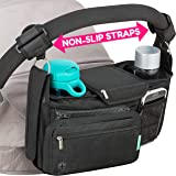 Non-Slip Stroller Organizer With Cup Holders, Exclusive Straps Grip Handlebar. Universal Fit For Uppababy Vista Cruz…