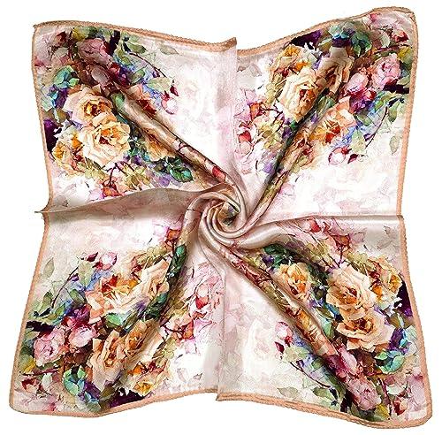 Bees Knees Fashion – Sciarpa – Piccola Sciarpa Quadrata Di Seta Spessa Rose Crema Di Pesche Stampati