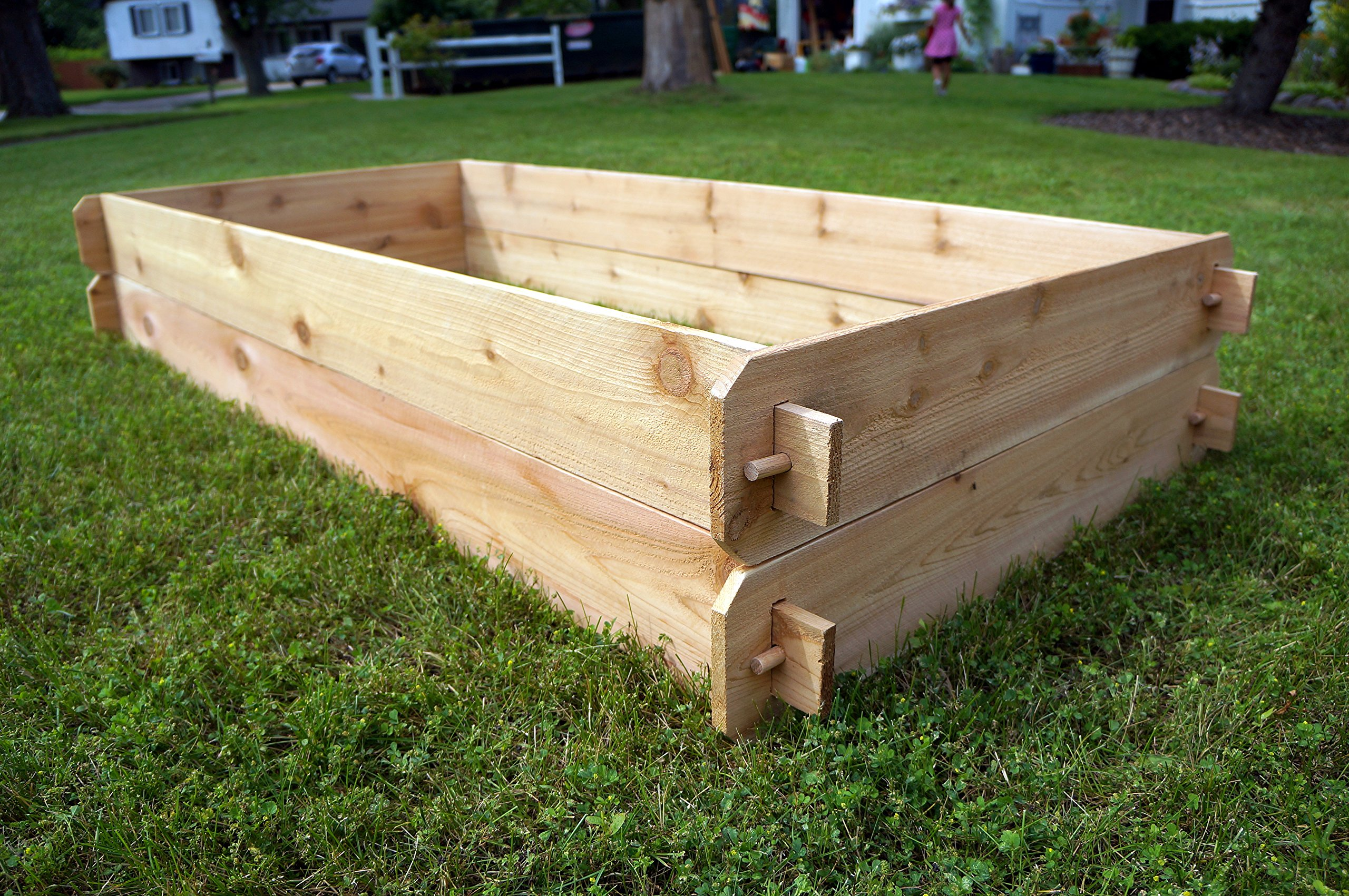 Timberlane Gardens Raised Bed Kit Double Deep, Western Red Cedar Mortise Tenon Joinery, 3' W x 6' L 4 Raised garden bed kit proudly made in homer glen, Illinois USA Constructed of select western red cedar Handcrafted mortise & tenon joinery