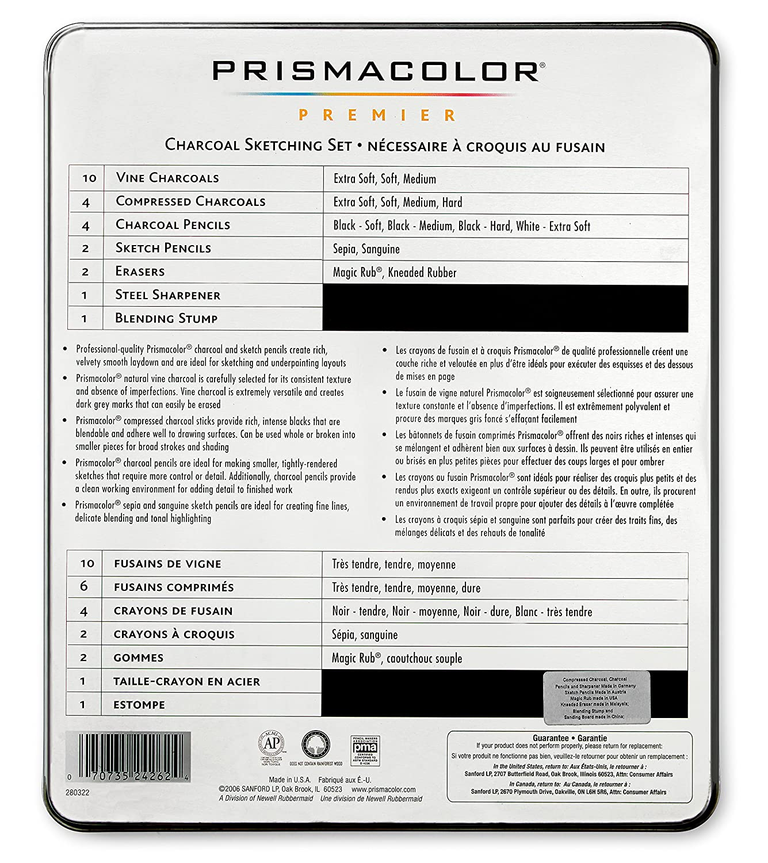 18-Piece Set Prismacolor 24261 Premier Graphite Drawing Pencils with Erasers /& Sharpeners