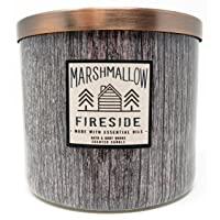 Bath and Body Works White Barn 3 Wick Candle Marshmallow Fireside Brown Wood Grain...
