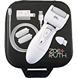 Electric Callus Remover USB Rechargeable Pedicure Foot File tool by Zoe+Ruth for Dry Cracked Dead Skin on your Heels and Feet. International Charger, 3 Rollers & Travel Friendly Storage Case.