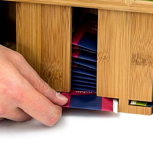 Relaxdays Caja para Bolsitas de Té, Bambú, Natural, 22 x 33,5 x 10 cm: Amazon.es: Hogar