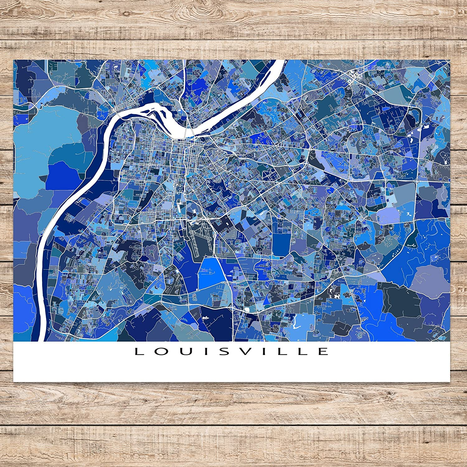 Kentucky On Usa Map.Amazon Com Louisville Map Art Print Kentucky Usa City Artwork