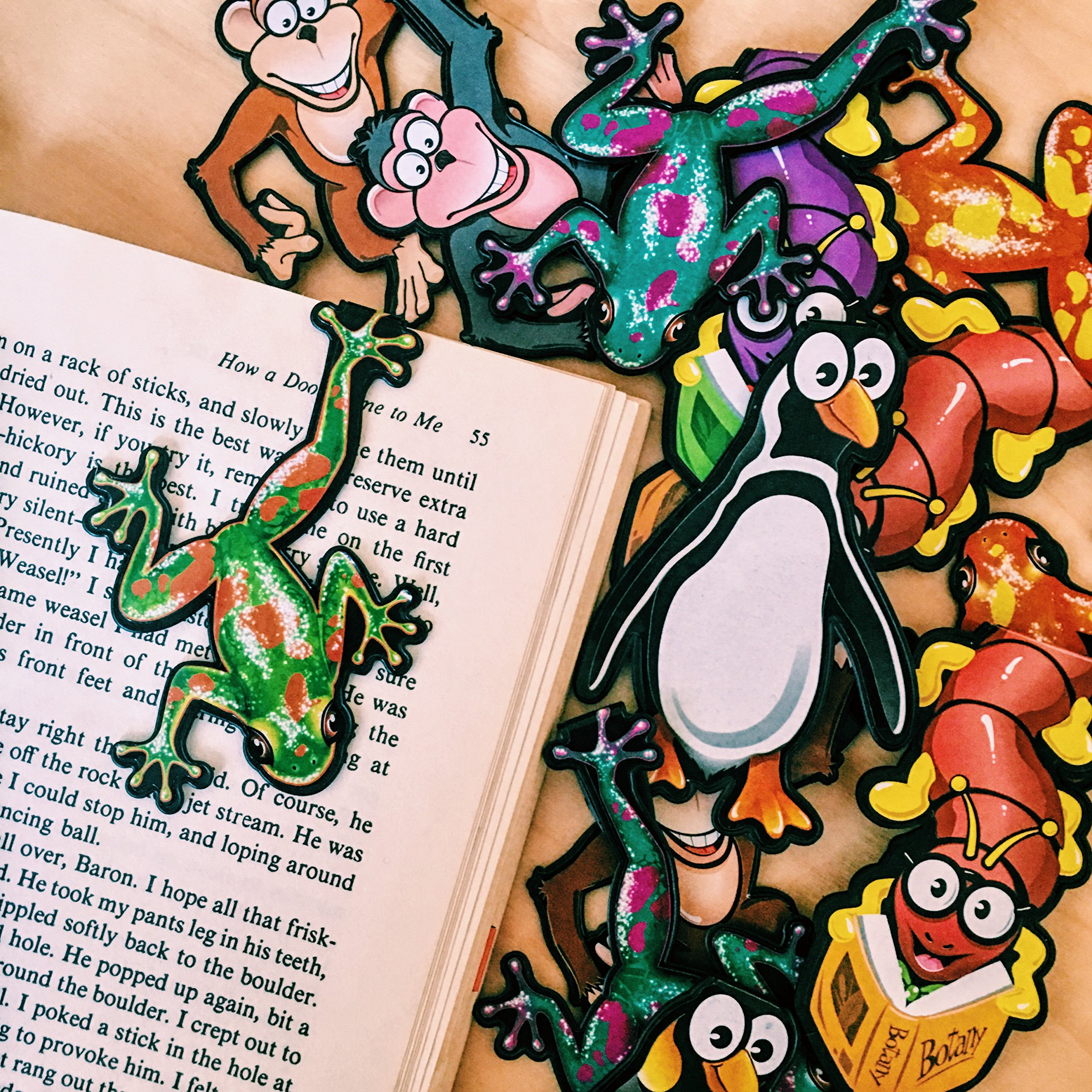 Reading Rewards Creature Bookmark Assortment Clip Over The Page (4 designs-10 Each-Total 40) Total