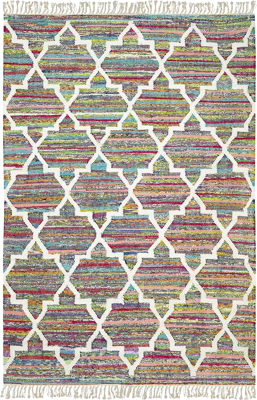 Jute & Co. Kilim Alfombra de algodón Tejido a Mano, Multicolor ...
