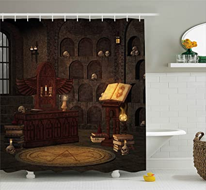 Amazon Com Ambesonne Gothic Decor Shower Curtain Chamber Of Secret