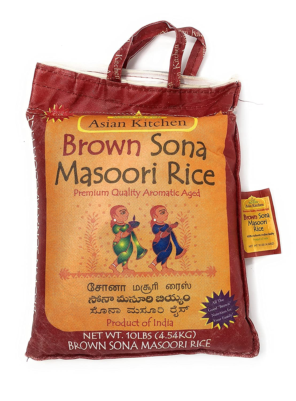 Asian Kitchen Brown Sona Masoori Aged Rice 10lbs Pound Bag (4.54kg) Short Grain Rice ~ All Natural   Gluten Free   Vegan   Indian Origin   Export Quality