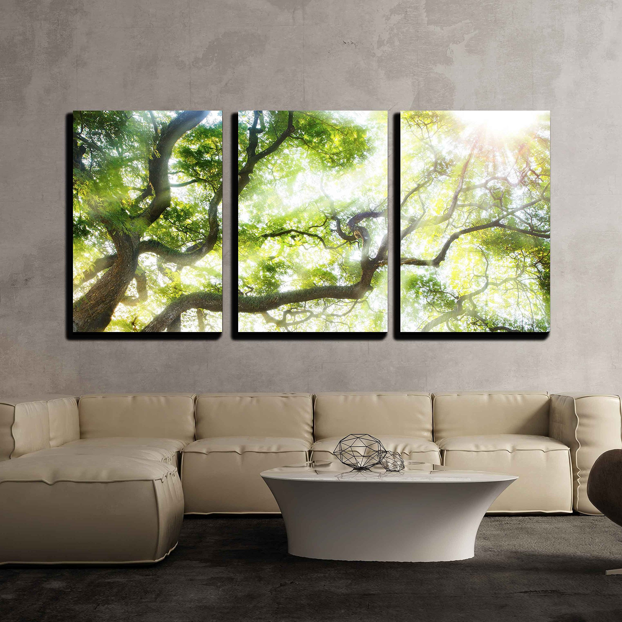 wall26 - 3 Piece Canvas Wall Art - Big Tree with Sun Light - Modern Home Decor Stretched and Framed Ready to Hang - 16''x24''x3 Panels