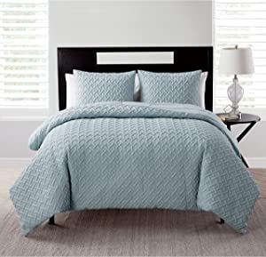 VCNY Home | Nina Collection | Soft & Cozy Geometric Embossed Microfiber Comforter, Premium 3 Piece Bedding Set, Stylish Chic Design for Home Décor, King, Blue