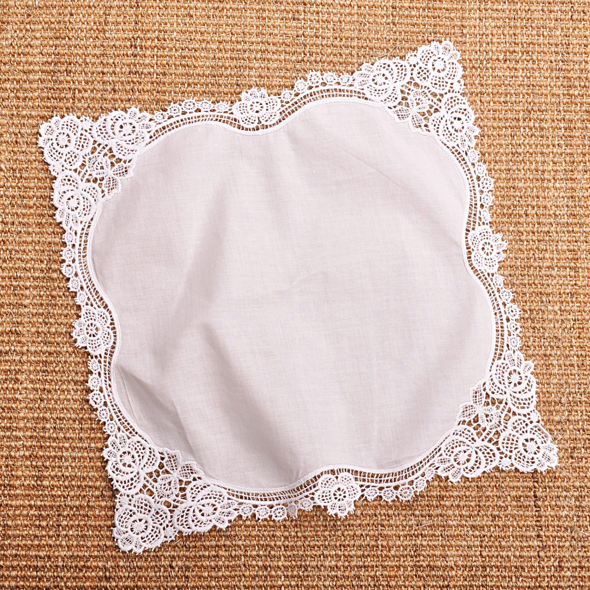 Milesky Bridal Wedding Crochet Lace Handkerchief Premium 60S Cotton CH02 by Milesky (Image #4)