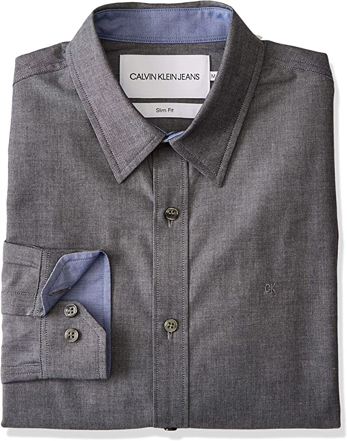 Calvin Klein J30j312797 Chambray Slim 099 - Camisa Negro M: Amazon.es: Ropa y accesorios