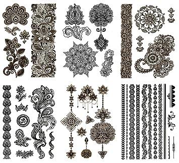 b458b00be Amazon.com : Temporary Black Henna Tattoos - Over 50 Mehndi Designs (6  Sheets) Terra Tattoos Hanna : Beauty