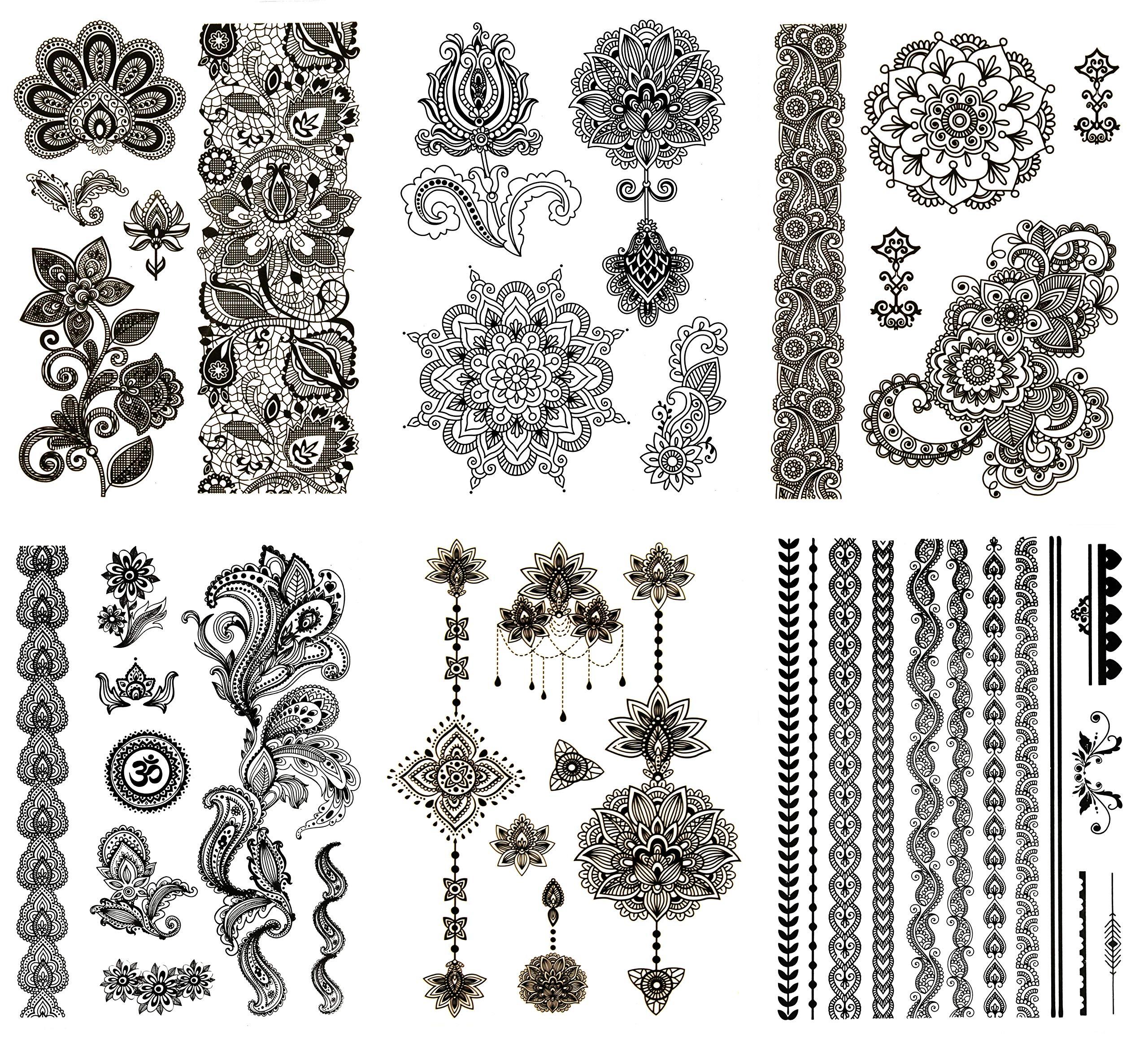 Henna Tattoo Paste Amazon: Amazon.com : 12 Pieces/Lot Sexy Mandala Flower Henna