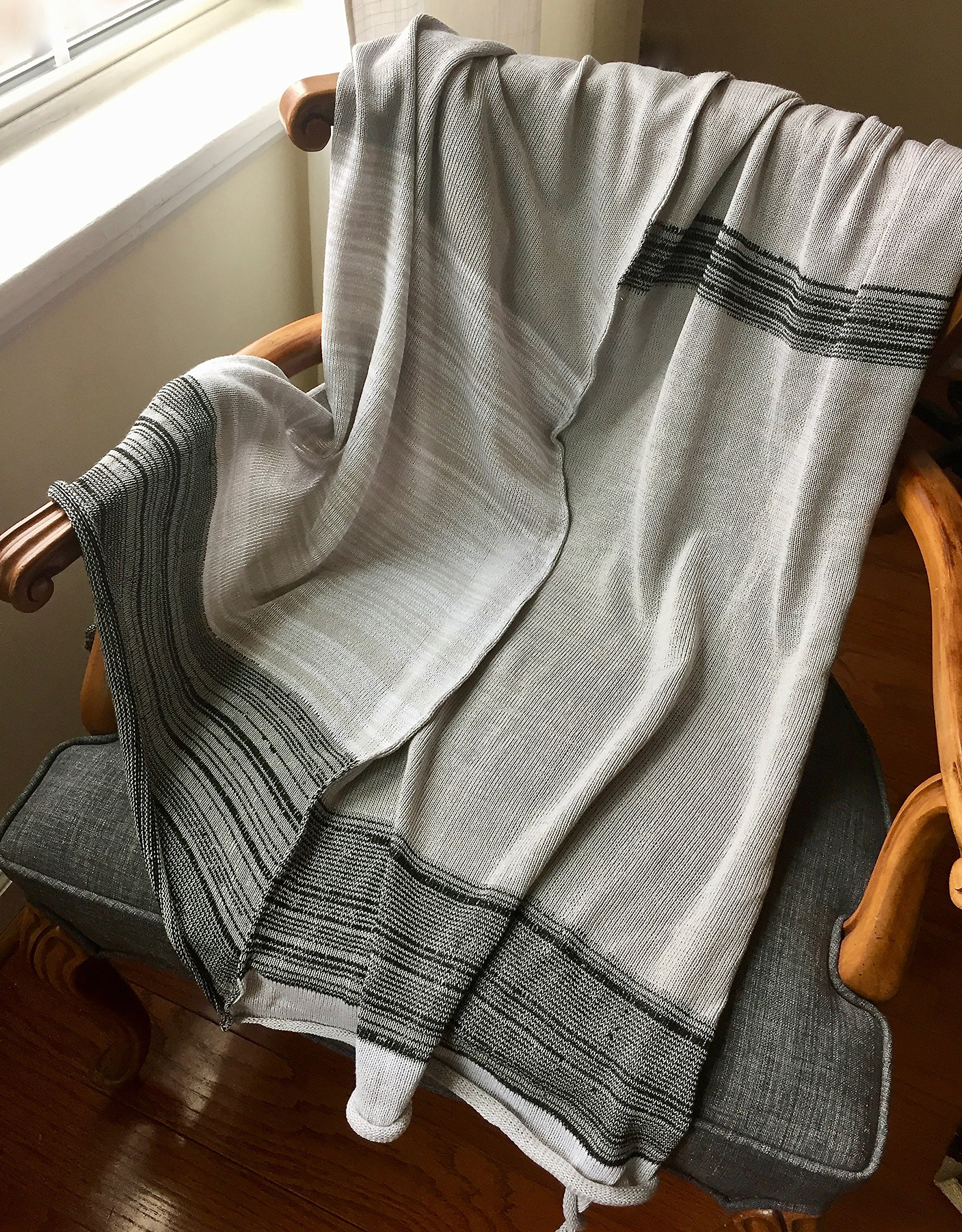 Organic Cotton Bamboo Hand-Knitted Throw Blanket for Home - Grey India Throw - Knit Home Decor by Pico Vela