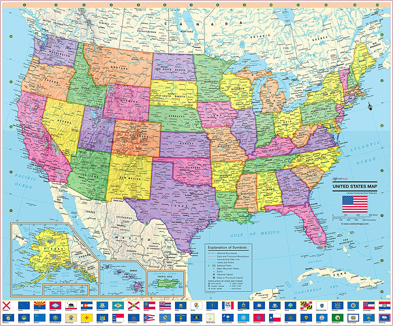 United States 50 State Map Amazon.: United States Wall Map Poster with State Flags