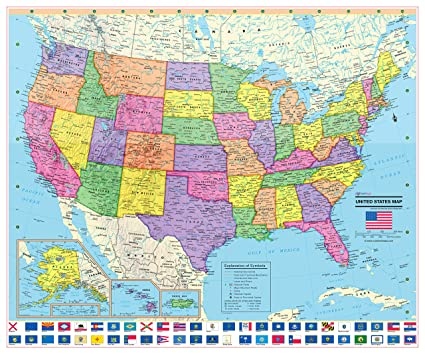 Map Of All States In Usa.United States Wall Map Poster With State Flags 24x20 Rolled Laminated 2019
