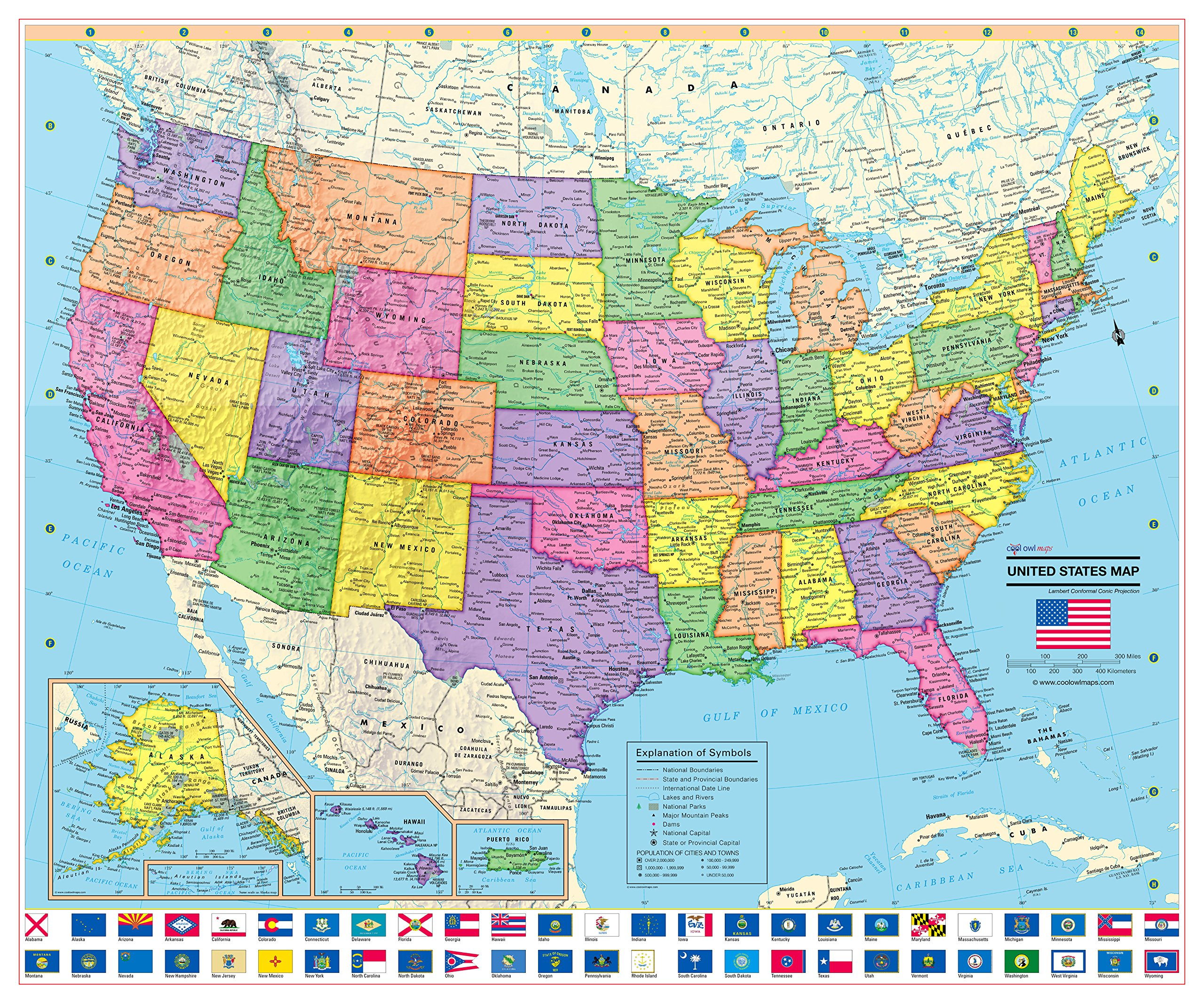 United States Wall Map Poster with State Flags - 24x20 Rolled Laminated - 2018
