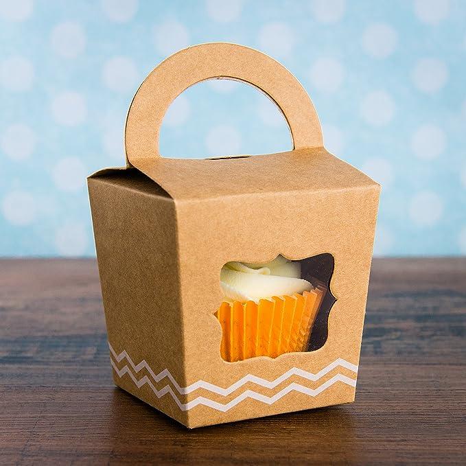 10 cajas con asa, color marrón, individuales, para guardar cupcakes: Amazon.es: Hogar