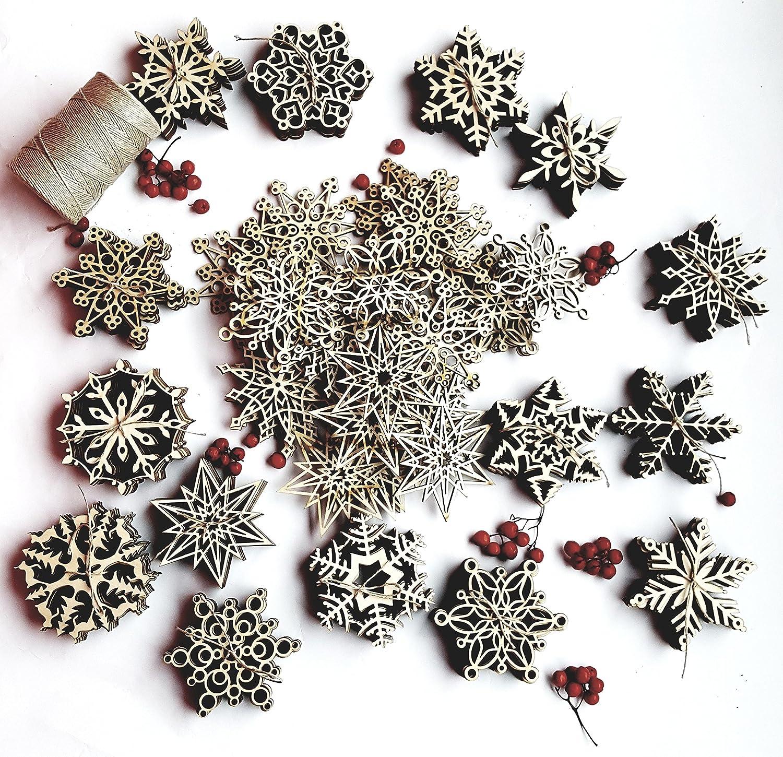 Amazoncom Christmas Ornaments Set, Rustic Wooden Snowflake Decorations, Laser Cut