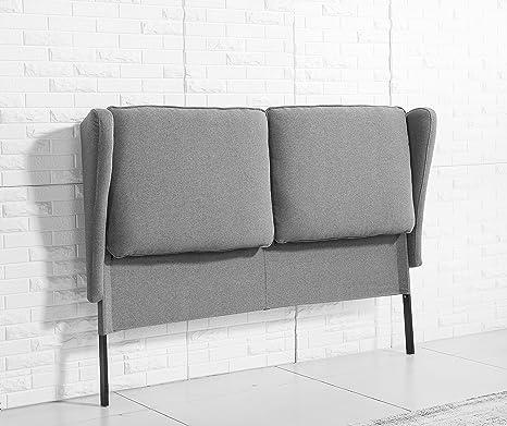 Testiera da letto imbottita, 170 cm, colore: grigio cenere, per ...