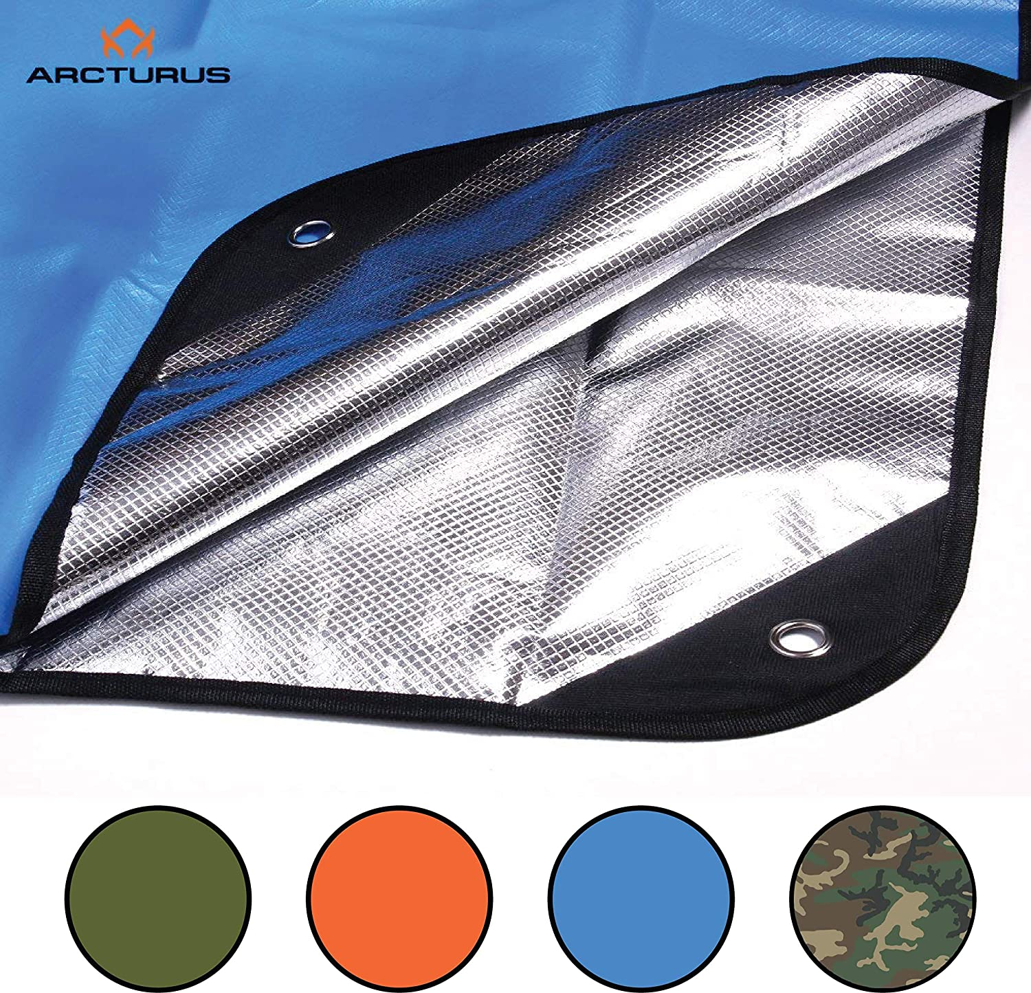 """Arcturus Heavy Duty Survival Blanket – Insulated Thermal Reflective Tarp - 60"""" x 82"""". All-Weather, Reusable Emergency Blanket for Car or Camping (Blue)"""