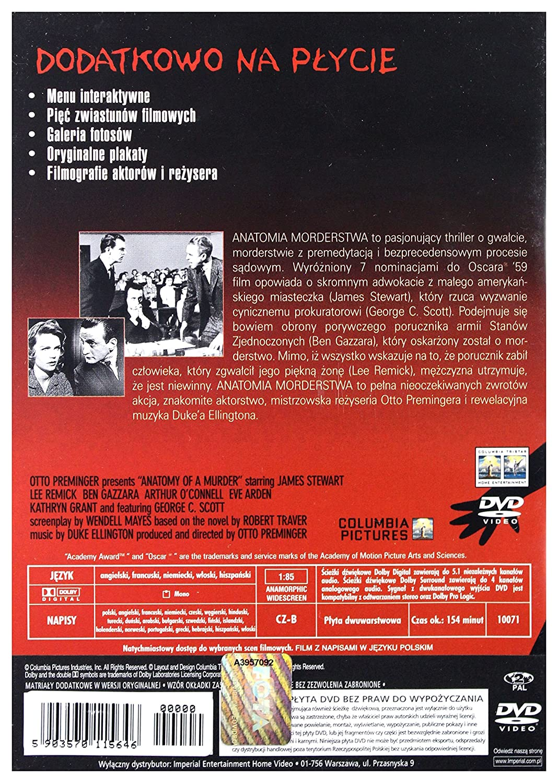 Anatomy of a Murder DVD English audio. English subtitles: Amazon.co ...