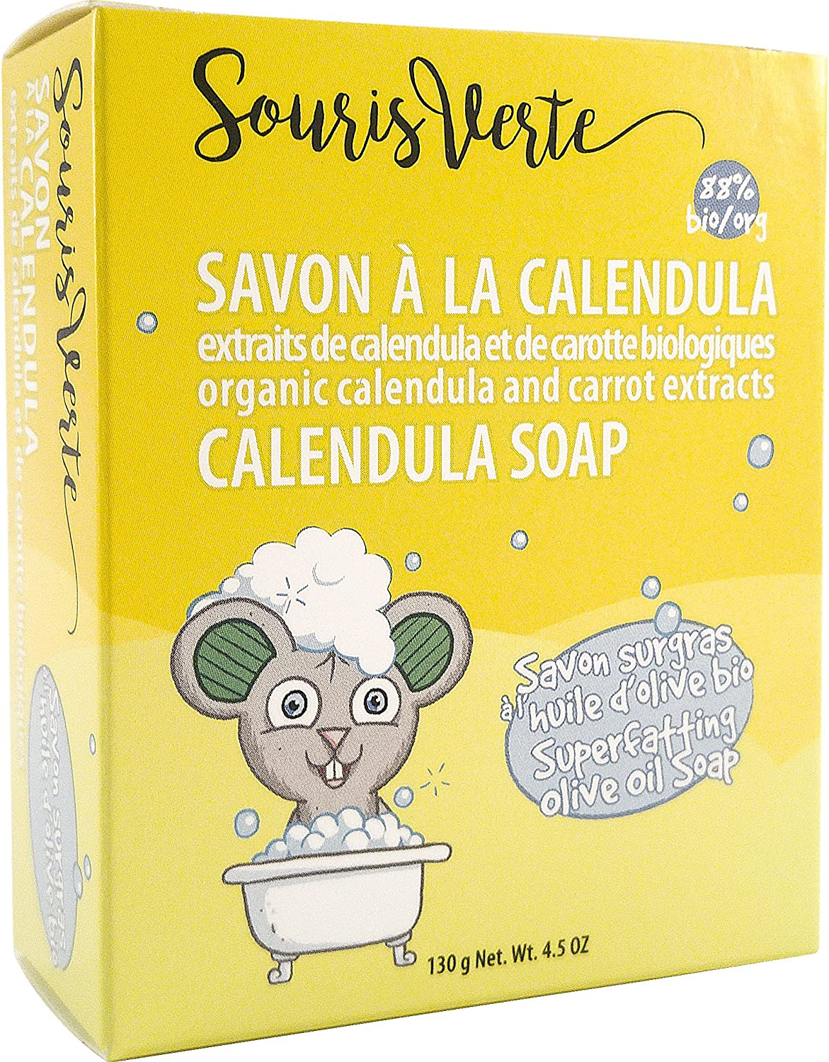 Souris Verte Natural Organic Baby Soap Bar, 130g Pro-Merit CA 942