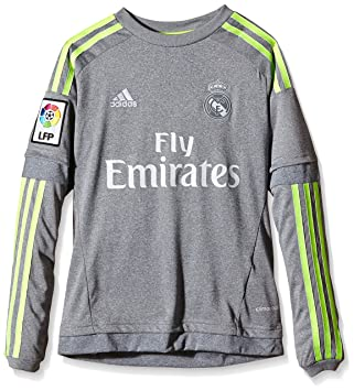 baa7fe441c931 Adidas Real Madrid Maillot à manches longues enfant, Gris - Grey/Solar  Yellow,