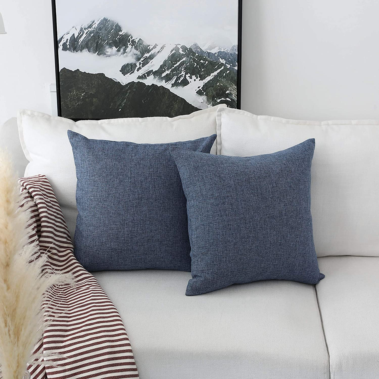 Home Brilliant Indigo Linen Decorative Pillow Covers Lined Cushion Cover for Couch, 20x20 Inch(50x50cm), Set of 2, Navy Blue