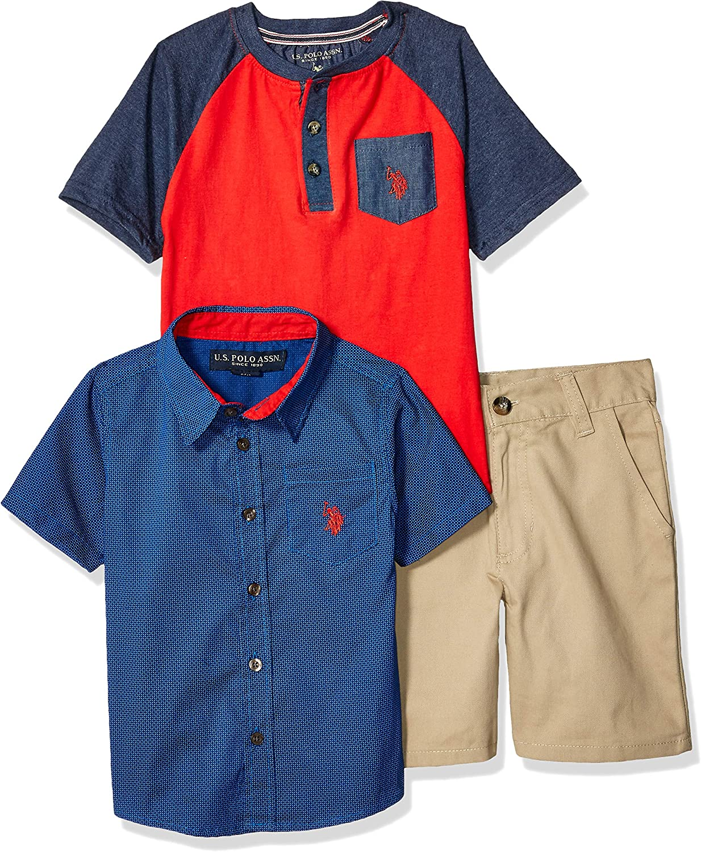 U.S and Short Set Shorts Set Polo Assn Boys 3 Piece Short Sleeve T-Shirt Henley
