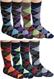 DEBRA WEITZNER Mens Colorful Argyle Dress Socks - Cotton - Crew Length - 6 Pairs