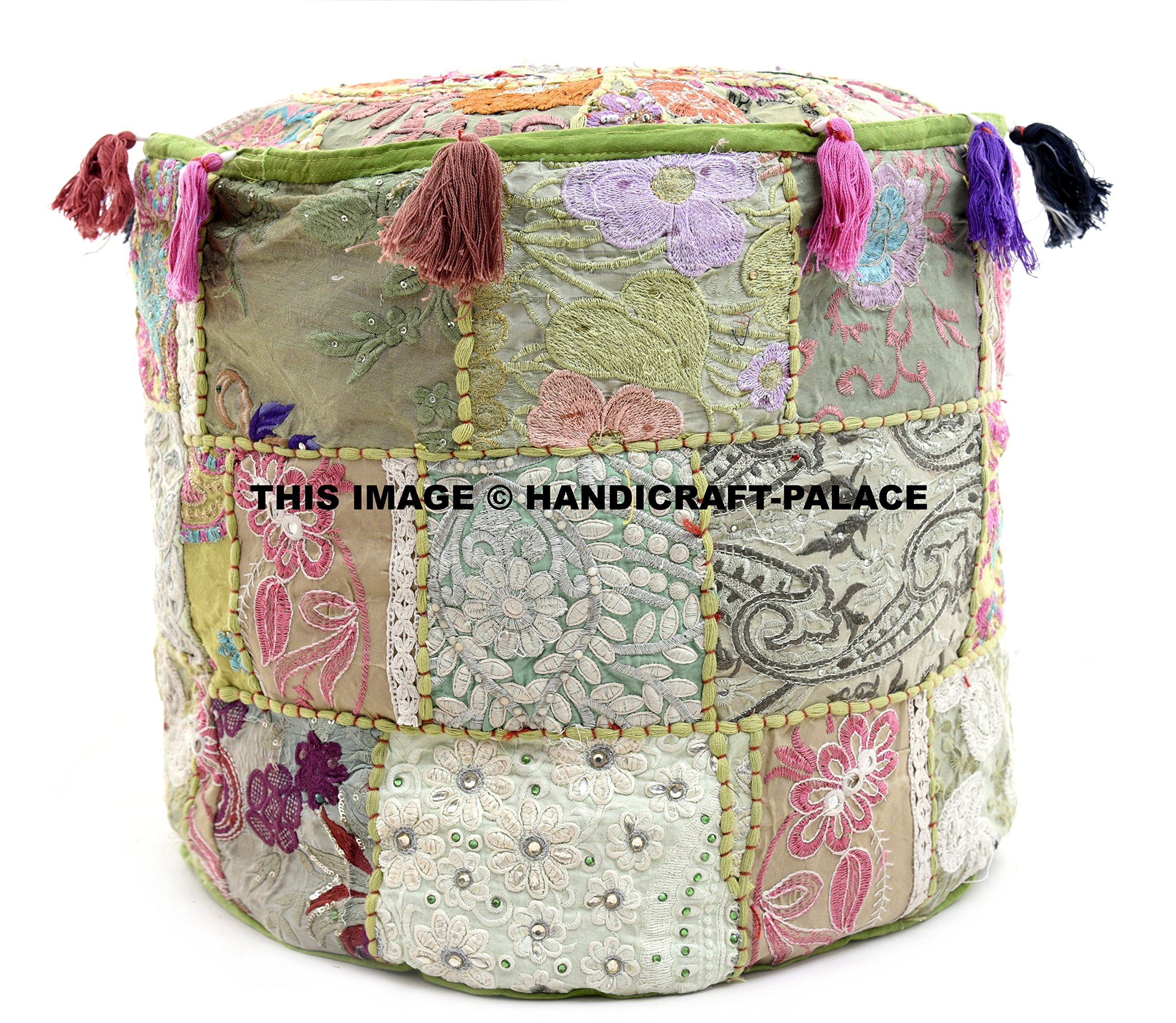 HANDICRAFT-PALACE Indian Traditional Cotton Round Ottoman Cushion Pouffe Cover/Bohemian Handmade Patchwork Floor Footstool for Sofa Couch/Vintage Ethnic Kantha Designer Embroidery Tassel Hassock by HANDICRAFT-PALACE