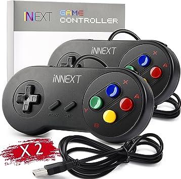 2 Pack iNNEXT SNES Retro USB Controller Gamepad Joystick, USB PC Super Classic Controller Joypad Gamestick for Windows PC MAC Linux Raspberry Pi 3 ...