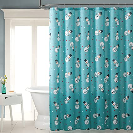 Holiday Winter Fabric Shower Curtain Snowman Design Aqua Teal Blue Red White 72quot