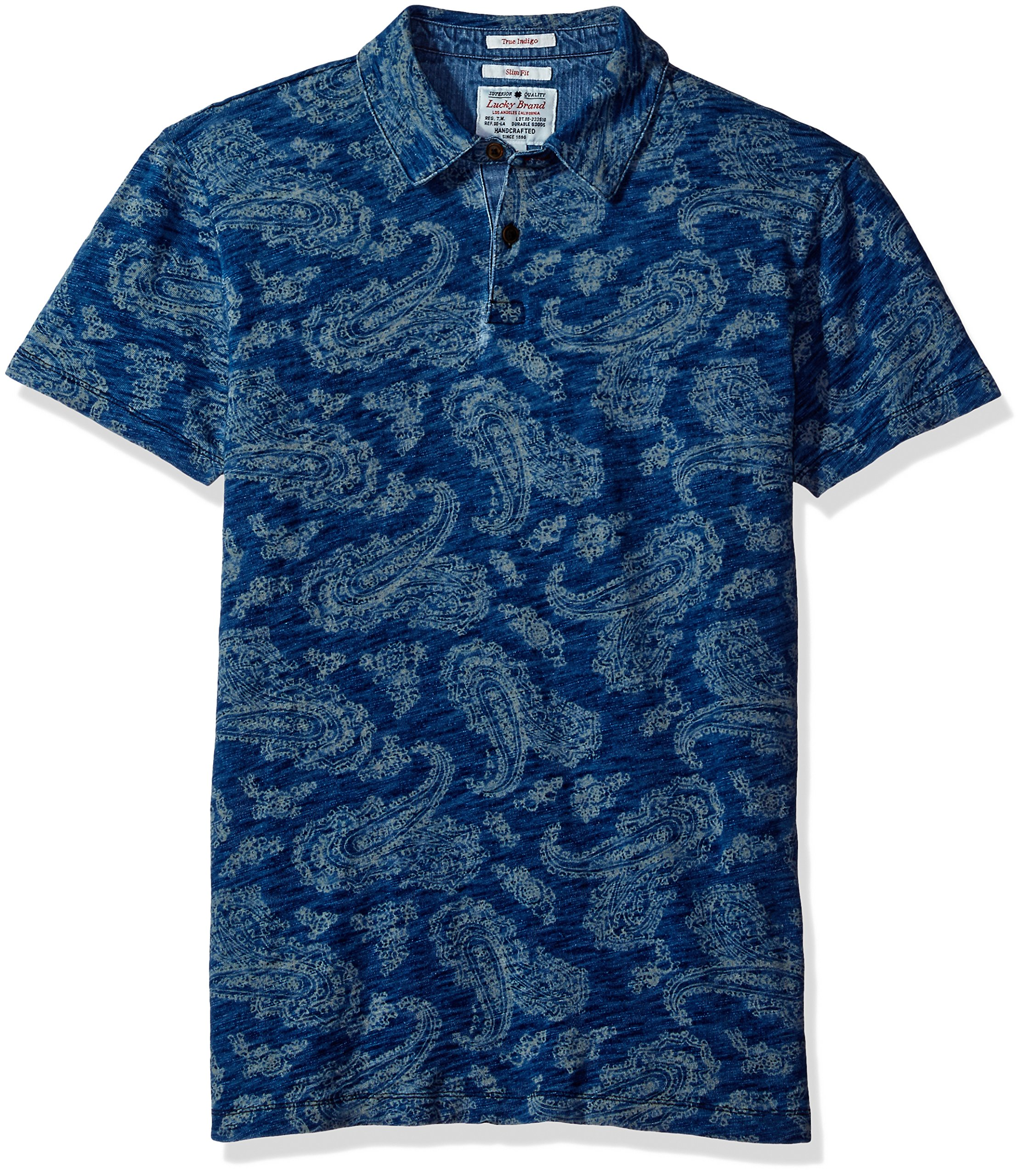 Lucky Brand Men's Indigo Polo, Printed Indigo, Small