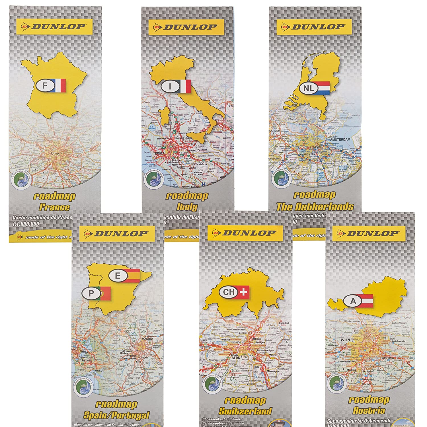 Road Map Of France And Italy.Set 6 Dunlop Road Maps France Holland Austria Switzerland Italy Spain Europe Map