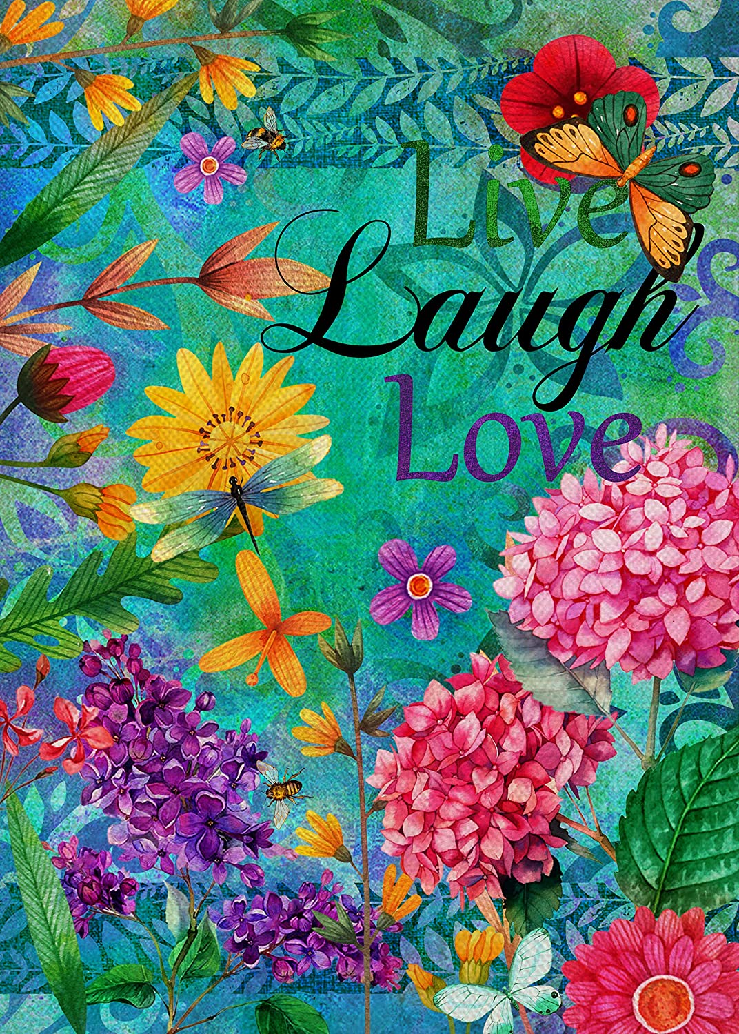 Covido Home Decorative Spring Garden Flag Live Laugh Love Hydrangea Flower House Yard Butterfly Decor Farmhouse Outside Inspirational Decoration Summer Outdoor Small Burlap Flag Double Sided 12 x 18