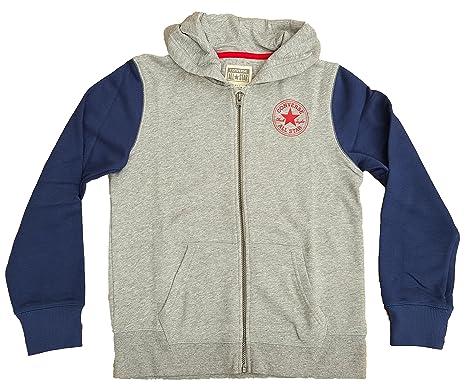 c64c00b1feb7 Boys Converse Zip Up Hooded Jacket - 964507 Grey  Amazon.co.uk  Clothing