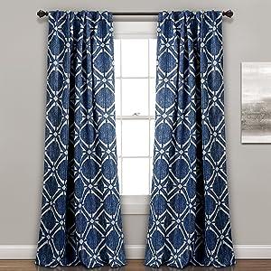"Lush Decor, Navy Kane Geo Room Darkening Window Curtain Panel Pair, 84"" x 52"""