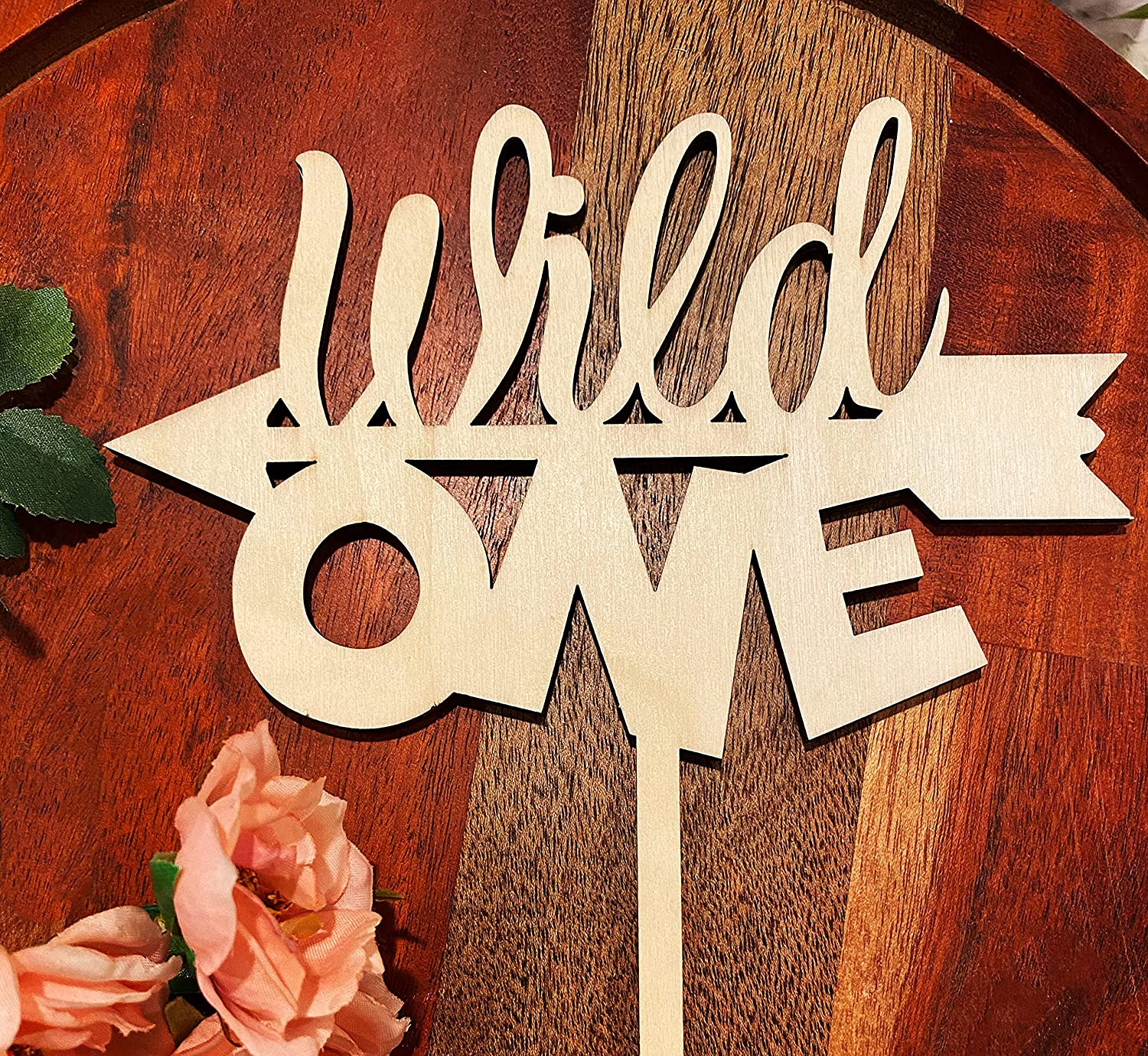 Wild One Cake Topper One Year Old One Cake Topper-Rustic Wood Cake Topper First Birthday Cake Topper 1st Birthday Smash Cake Topper-Birthday Decor-1st Birthday Topper-Wood Cake Topper(wild one cont)