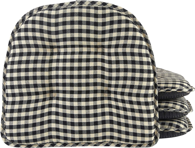 Klear Vu Tufted No Slip Dining Chair Pad Cushion, Set of 4, 4 Pack, Gingham Black