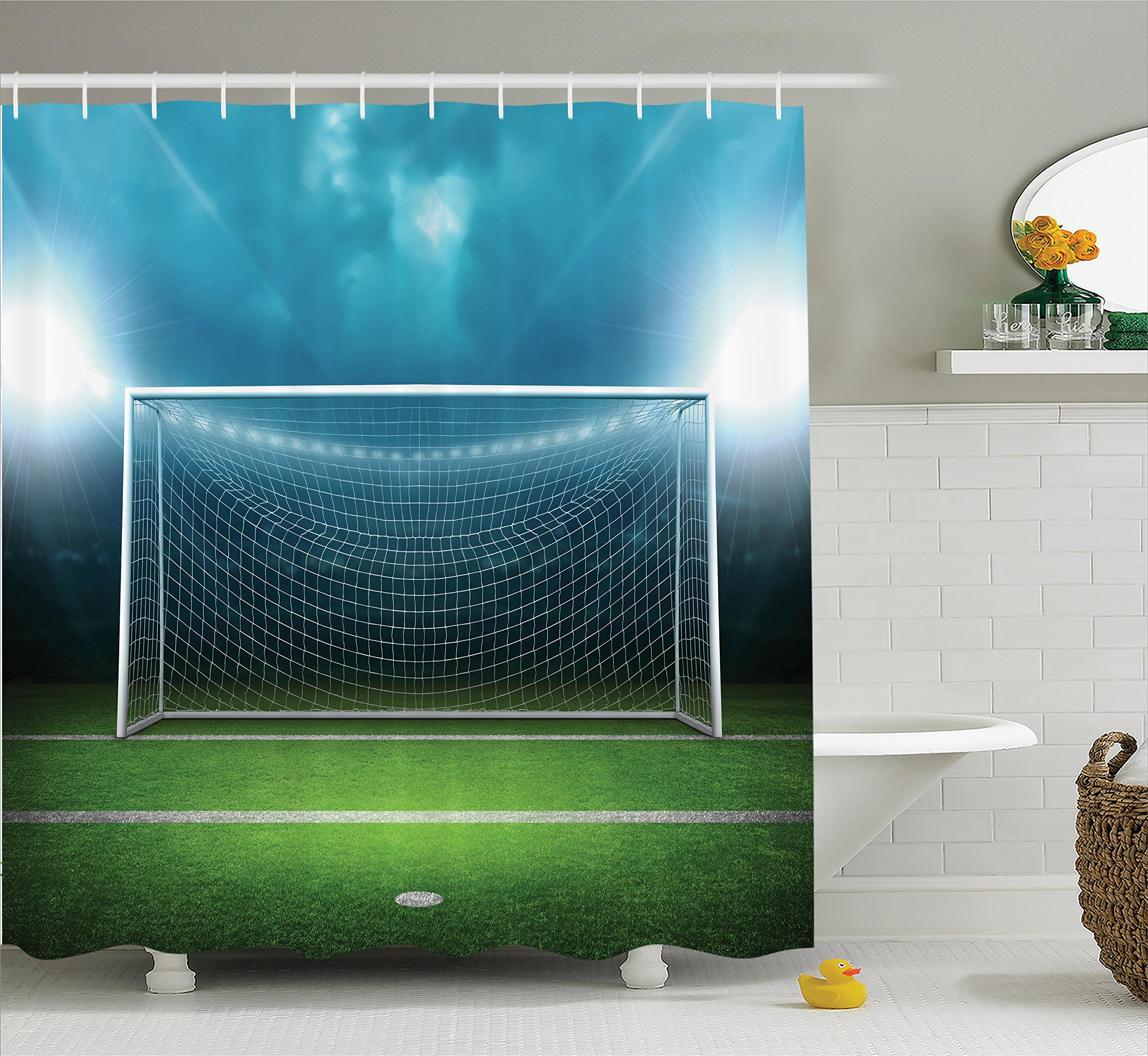 Ambesonne Sports Decor Shower Curtain Set, Soccer Goal Post Sports Area Winner Loser Line Floodlit Best Team Finals Game Gym Theme, Bathroom Accessories, 69W X 70L inches, Green Blue