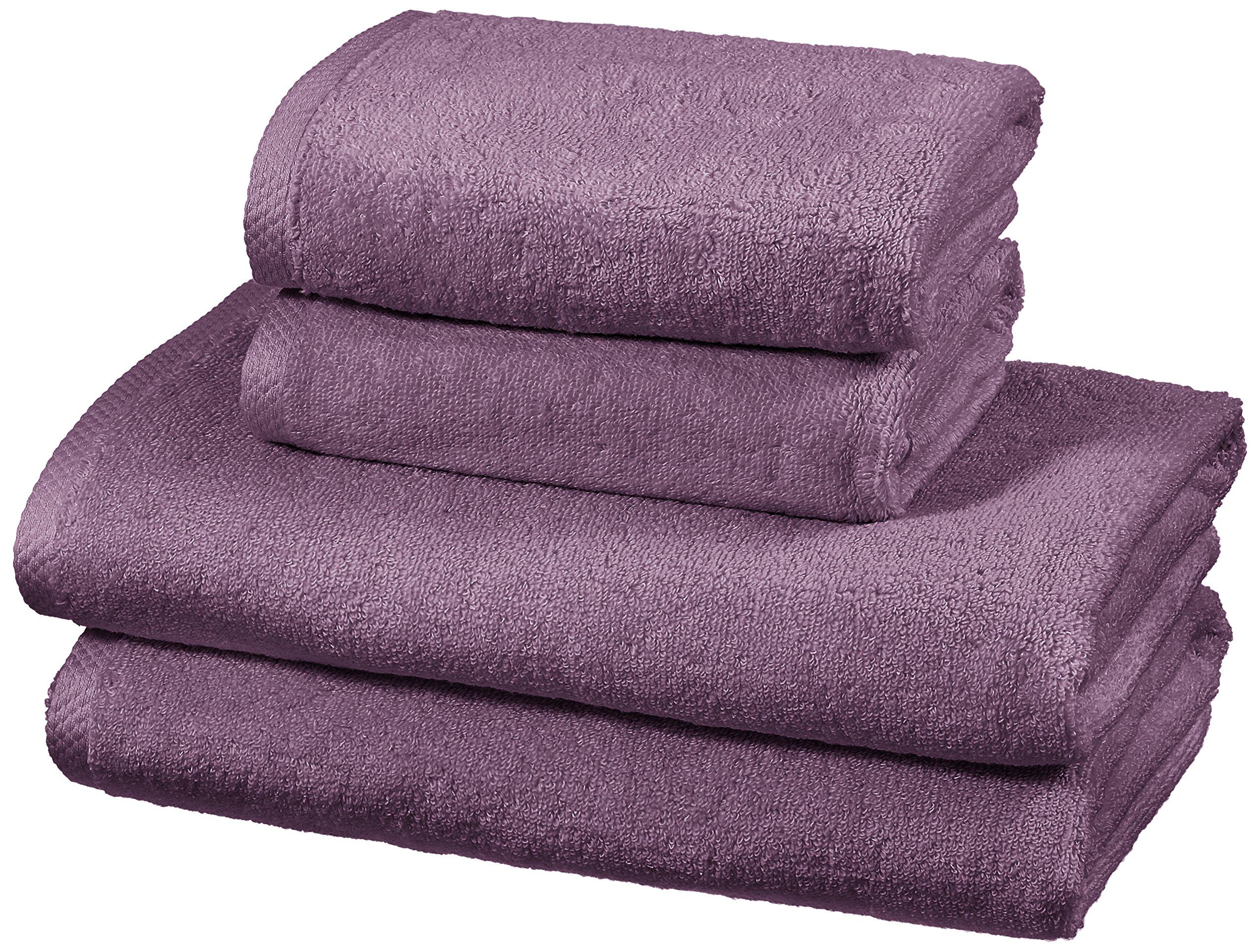 AmazonBasics - Juego de 4 toallas de secado rápido, 2 toallas de baño y 2