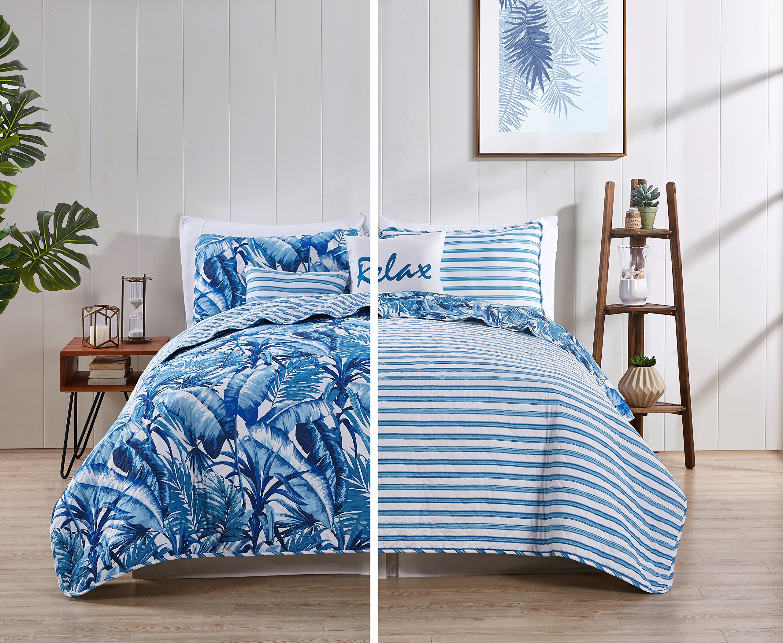 VCNY Home Tropical Bedding Quilt Set, Full/Queen, Blue