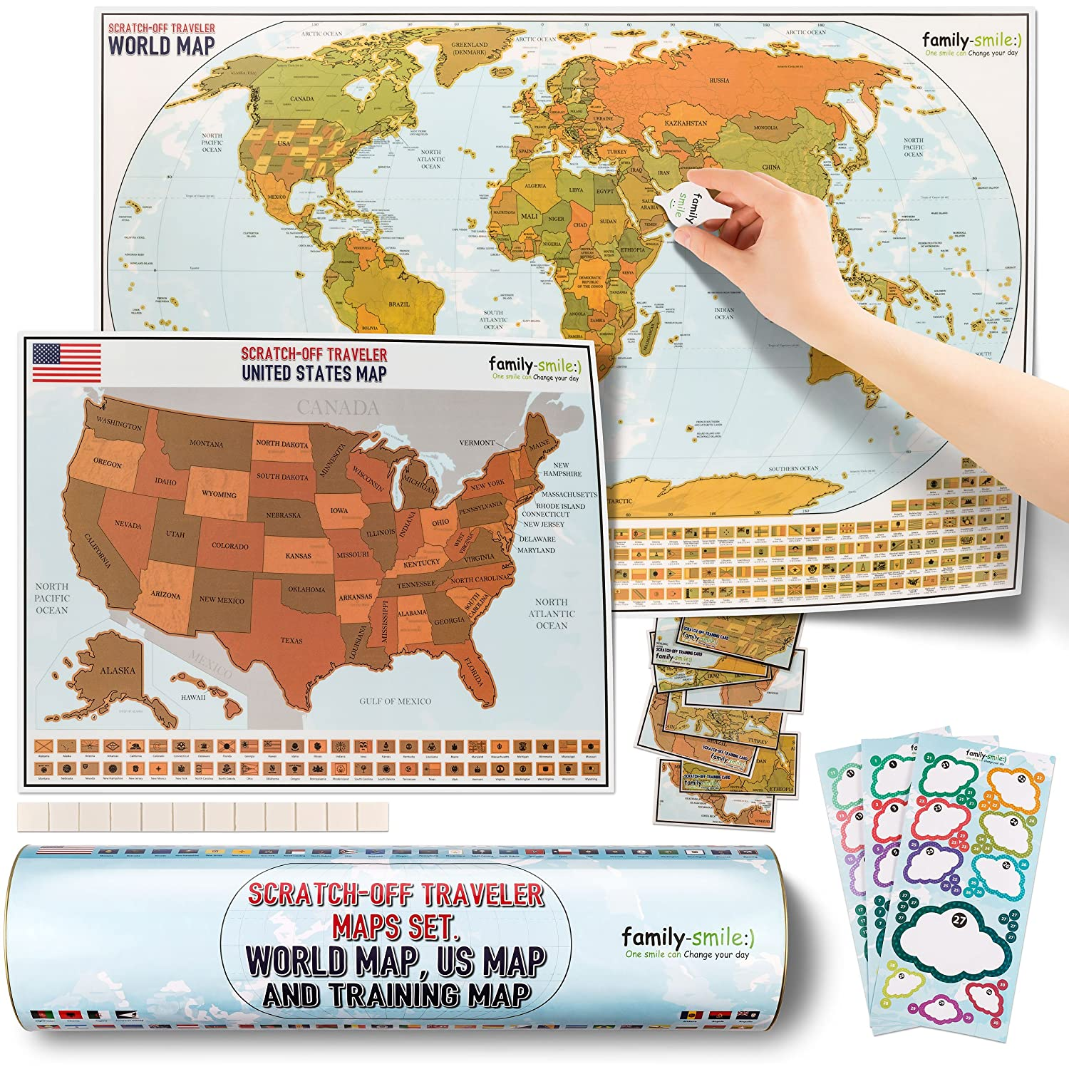 Amazon Com Family Smile Scratch Off Educational Travel Log Map
