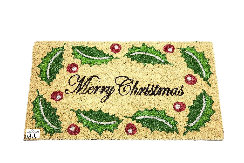 EHC 40 x 70 cm Merry Christmas Decorative Rubber/Coir Door Mat EliteHousewares E7-9124